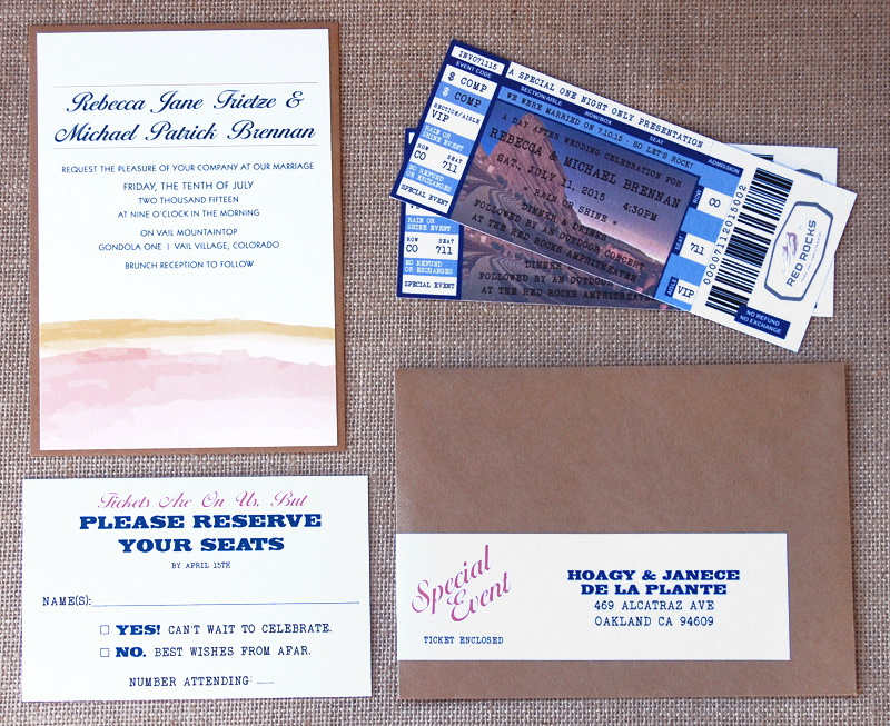 Ticket Wedding Announcement and Invitation