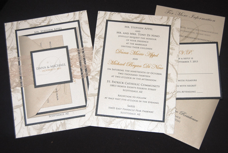 Layered Lace Belly Band Wedding Invitation