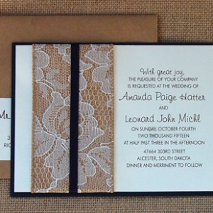 Lace and Burlap Belly Band Wedding Invite
