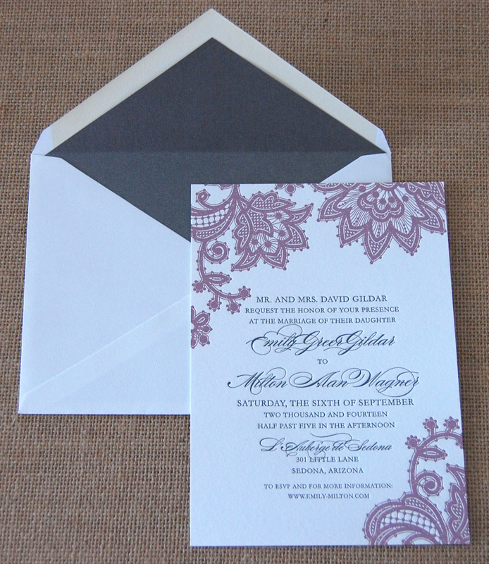 Floral Lace Letterpress Wedding Invitation