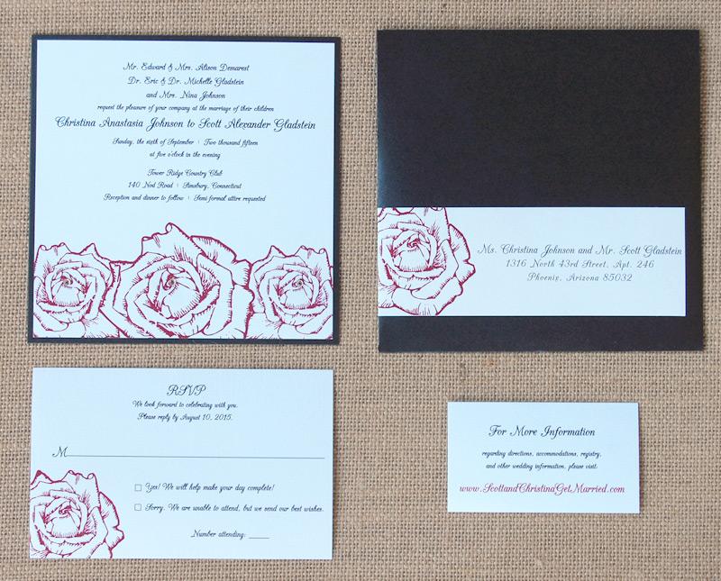 Red Roses Square Wedding Invitation