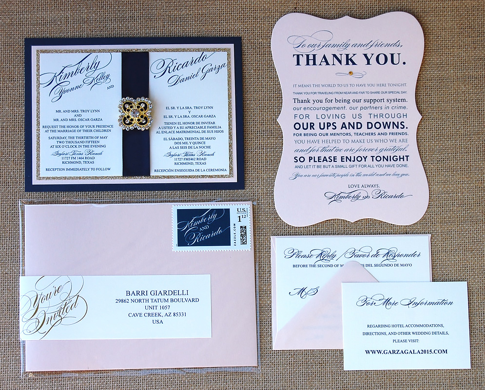 Belly Band with Brooch Wedding Invitation