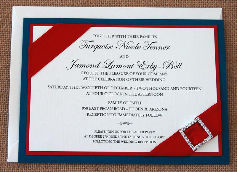 Ribbon and Brooch Wedding Invitation
