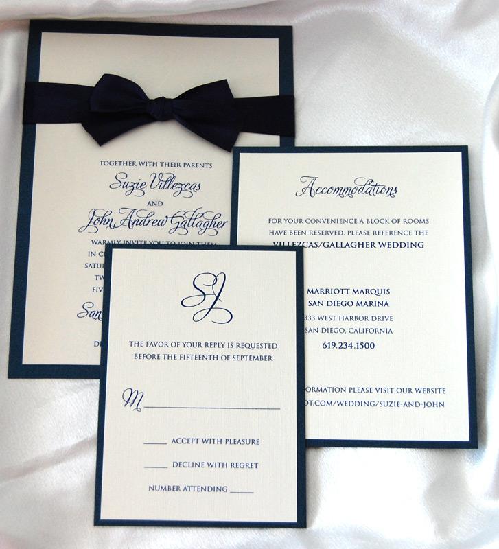 Layered Black Bow Tie Wedding Invitation