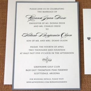 Layered Grey Script Wedding Invitation