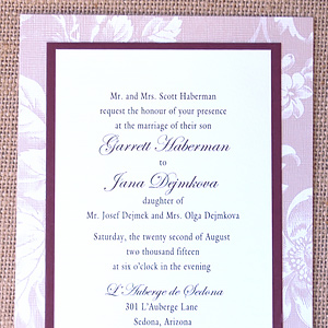 Floral Pattern Layered Wedding Invitation