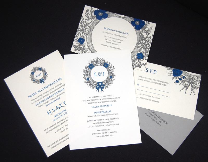 Floral Vintage Scroll Wedding Invitation