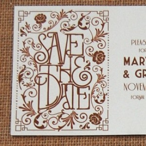 Floral Border Letterpress Invitation Suite