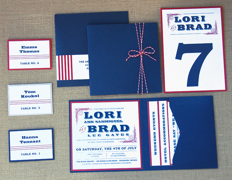 4th of July Pocket Invitation with Bow