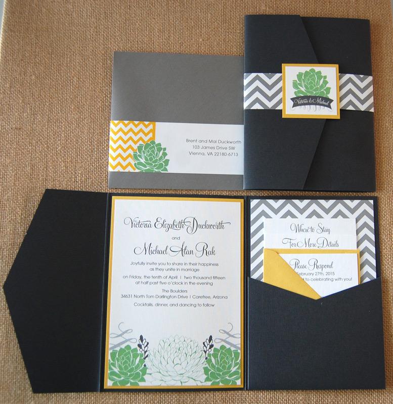 Chevron and Succulents Pocket Invitation