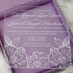 Acrylic Wedding Invite In Silk Box with Brooch