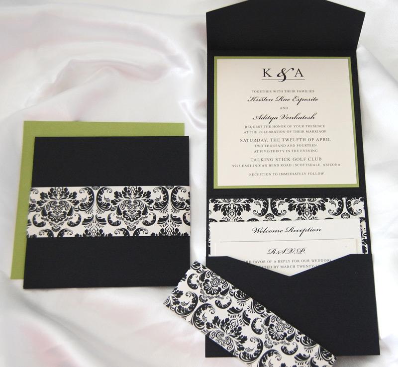 Black and White Scroll Pocket Invitation