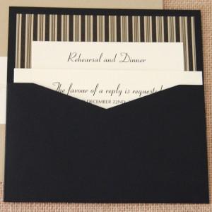 Black Stripes Pocket Wedding Invitation 2 of 2
