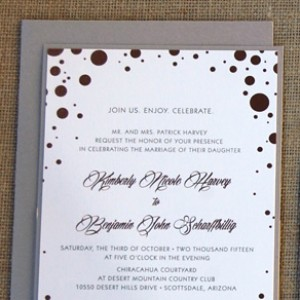 Blue and Coral Dots Pocket Wedding Invite