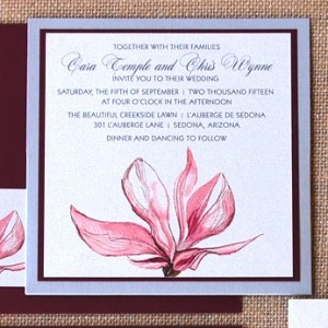 Modern Flower Square Pocket Card Invitation