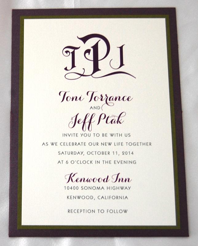 Wine Floral Patterned Pocket Invitation 1 of 2