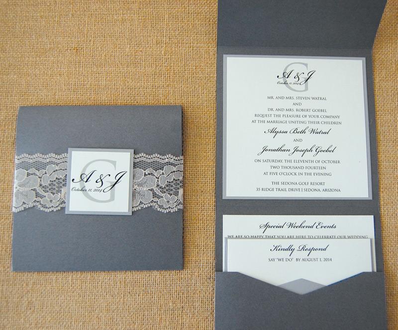 Grey Lace Belly Band Pocket Invitation