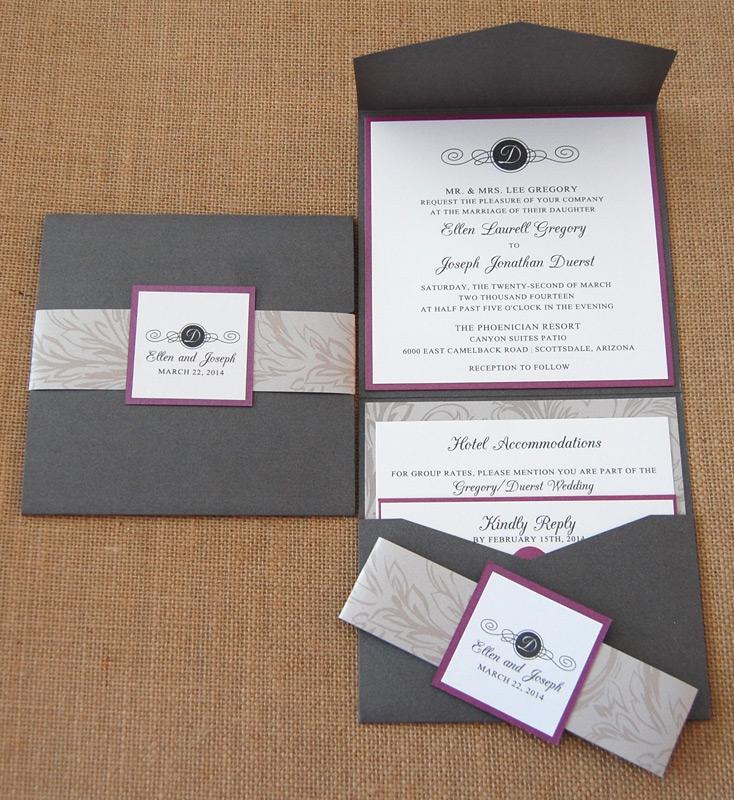 Filigree Monogram Belly Band Wedding Invitation