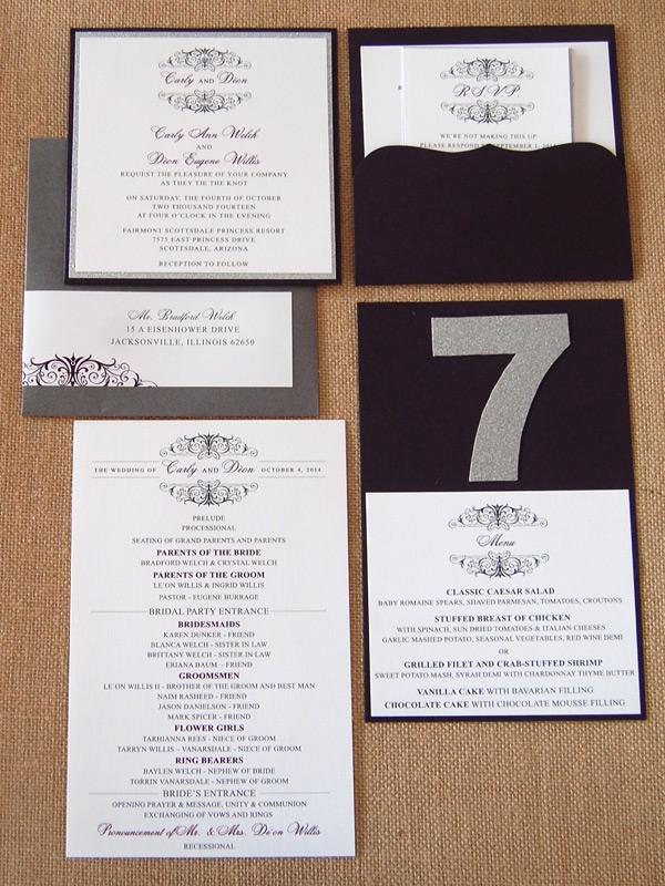 Monogram Bracket Pocket Invitation