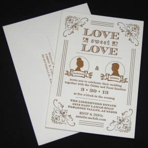 Silhouette Letterpress Wedding Invitation
