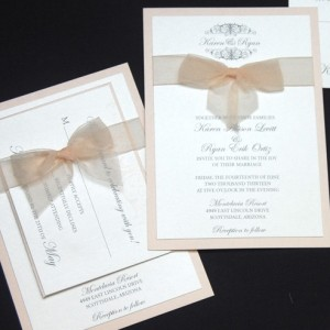 Sheer Bow Pocketcard Wedding Invitation