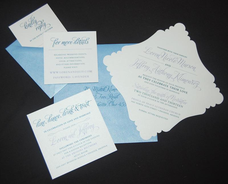 Blue Bracket Edge Wedding Invitation