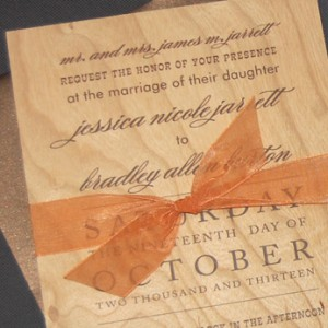Western Themed Wood Wedding Invitation