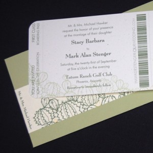 Arizona Cactus Ticket Wedding Invitation