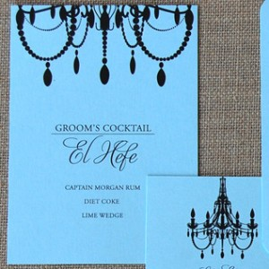 Blue and Black Chandelier Reception Items