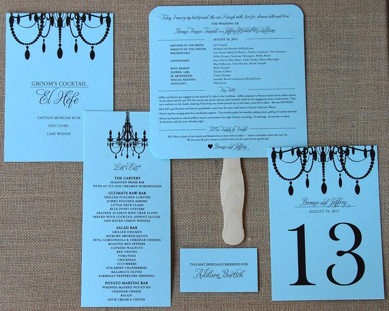 Black Chandelier Reception Items