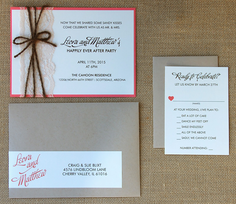 Lace and Yarn Belly Band Wedding Invitation