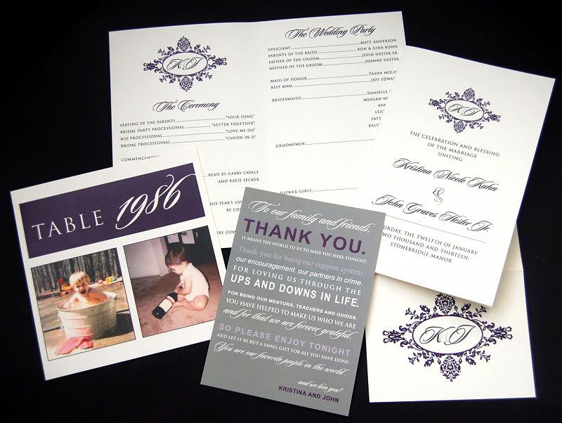 Purple Filigree Monogram Reception