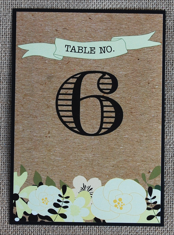 Floral Cardboard Table Number With Banner