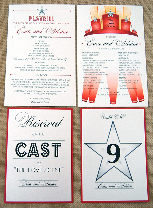 Theater Wedding Reception Items