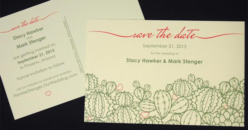 Phoenix Cactus Save the Date Card