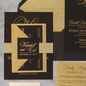 lack & Gold Ink Glitter Belly Band Suite