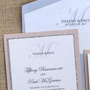 Blush and Silver Glitter Monogram Invite