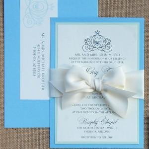 Cinderella Themed Bow Wedding Invitation Suite
