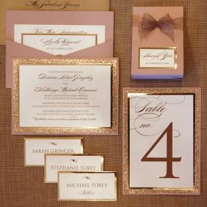 Glitter Blush & Gold Pocketcard Invite