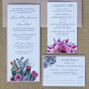 Watercolor Succulent & Cactus Wedding Invite