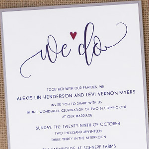 """We Do"" Modern Script Wedding Invite"