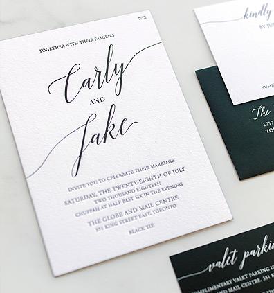 Matching Black and White Modern Wedding Invites