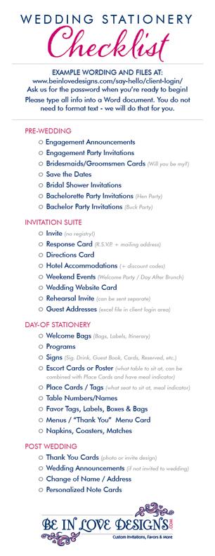 Wedding Stationery Checklist
