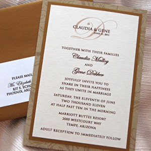 Brown Script Monogram Wedding Invitation