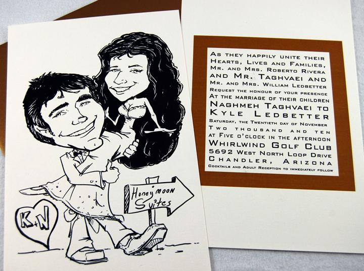 Cartoon Drawing Wedding Invitation