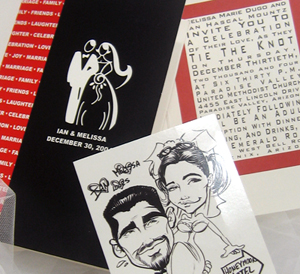 Couple Cartoon Drawing Wedding Invitation