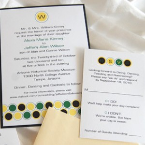 Yellow and Green Circles Wedding Invitation
