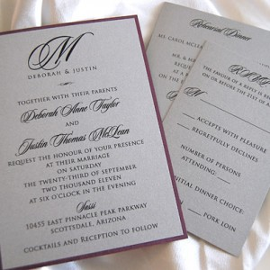 Initial Monogram Wedding Invitation