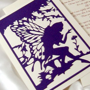 Purple Fairy Cutout Wedding Invitation