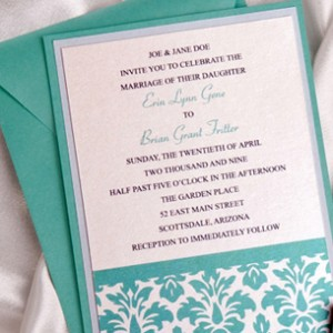 Green Damask Layered Wedding Invitation